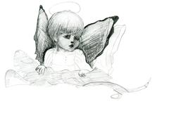 little angel with wings and halo doodle pencil sketch - stock illustration