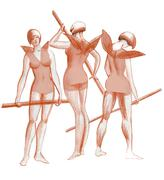 Three graces practicing ballet dancers in costumes fantasy sketch Stock Illustration