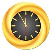 Golden Clock. Midnight, Midday - stock illustration