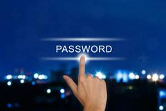 hand pushing password button on touch screen - stock illustration