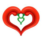 Chili Pepper Heart. Passion and Love Symbol - stock illustration