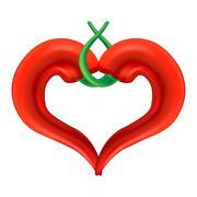 Chili Pepper Heart. Passion and Love Symbol - stock illustration