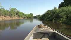 081 Pantanal, boating on the river, bleu sky - stock footage