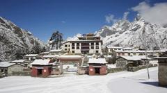 Tengboche Monastery timelapse, Tengboche, Everest region, Nepal Stock Footage
