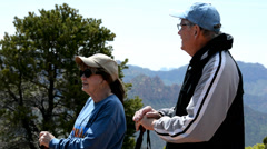 Retired senior couple enjoying the magnificent view in Zion National Park. Stock Footage
