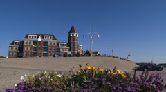Apartment building built on a river dike, Europakade, Tolkamer, The Netherlands Stock Footage