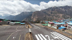 Small airplane is arriving to Lukla, Himalaya, Nepal Stock Footage