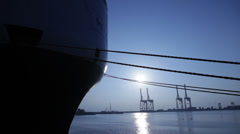 Port With Loading Cargo Ship Stock Footage