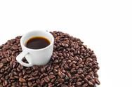 Stock Photo of cup of coffee with coffee beans