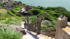 Alcatraz Island Federal Penitentiary. Ruins of staff Houses - stock footage