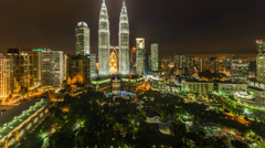 KLCC Park and  Water Fountain Pan Up Stock Footage