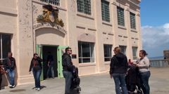 Tourists at the Alcatraz Island. San Francisco, California, USA. Stock Footage