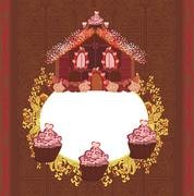 Gingerbread house , vintage frame Stock Illustration