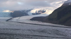 Medial moraine out to full view of glacier Stock Footage