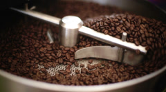 Cooling off toasted coffee beans Stock Footage