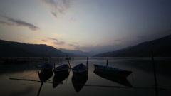 Sunset timelapse at Phewa lake, Pokhara, Nepal Stock Footage