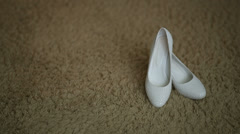 White Bridal Shoes Stock Footage