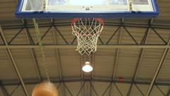 Basketball shot goes through the hoop cleanly Stock Footage