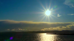 Sun Star over Ogden Point Breakwater, Dallas Road Stock Footage