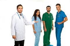 Sairaalan johtaja ja lääkärit joukkue Kuvituskuvat