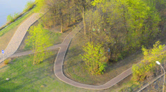 folks in city park; above view, sunny evening - stock footage
