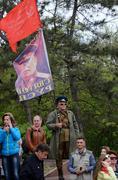 Man hold flag with portrait of joseph stalin, victory day,Odessa,Ukraine Stock Photos
