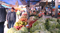 Fresh food market  , fruits and vegetables on market place Stock Footage