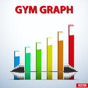 Background of barbell and diagram achieving - stock illustration