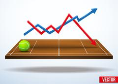 Concept of statistics about the game of tennis - stock illustration