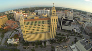 Stock Video Footage of Downtown Coral Gables, Florida. Flying through the city