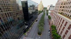 Downtown Coral Gables, Florida. Flying through the city - stock footage