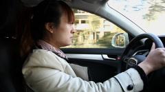 Girl driving a car,XI'an,Shaanxi.China. Stock Footage
