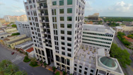 Stock Video Footage of Office Building in the city, aerial view