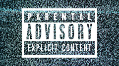 Parental advisory label - explicit content label on TV noise background. - stock footage