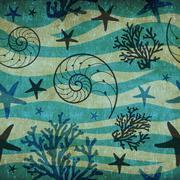 Vintage Shells and starfish pattern Stock Illustration