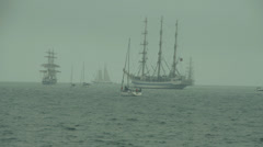 Sailing ships in the sea Stock Footage