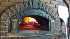 Stone or brick traditional oven with room for pizza - protune Stock Footage
