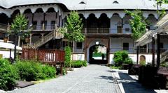 Bucharest, Romania -  Architecture of Manuc's  Inn 1808 - protune Stock Footage