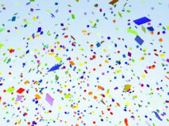 Color paper confetti falling alpha ntsc dv Stock Footage