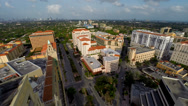 Stock Video Footage of Aerial view of Coral Gables and the 150 Alhambra Building Tower
