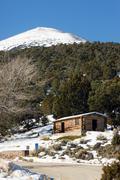 historic cabin winter day great basin national park southwest usa - stock photo