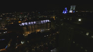 Stock Video Footage of Night flying over the city