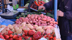 Potato fresh food market  , fruits and vegetables on market place Stock Footage