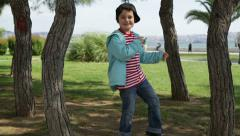 Child listening to music and dancing 4 Stock Footage