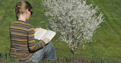 Ultra HD 4K Young girl student learn exam sitting green grass park novel book  Stock Footage