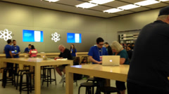 unknown people in apple store on coquitlam center mall - stock footage