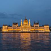Budapest parliament at nigth with lights Stock Photos