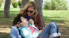 Mother and son relaxing time 5 - stock footage