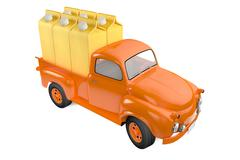 small lorry with packing of banana juice - stock illustration