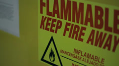 Flammable warning sign Stock Footage